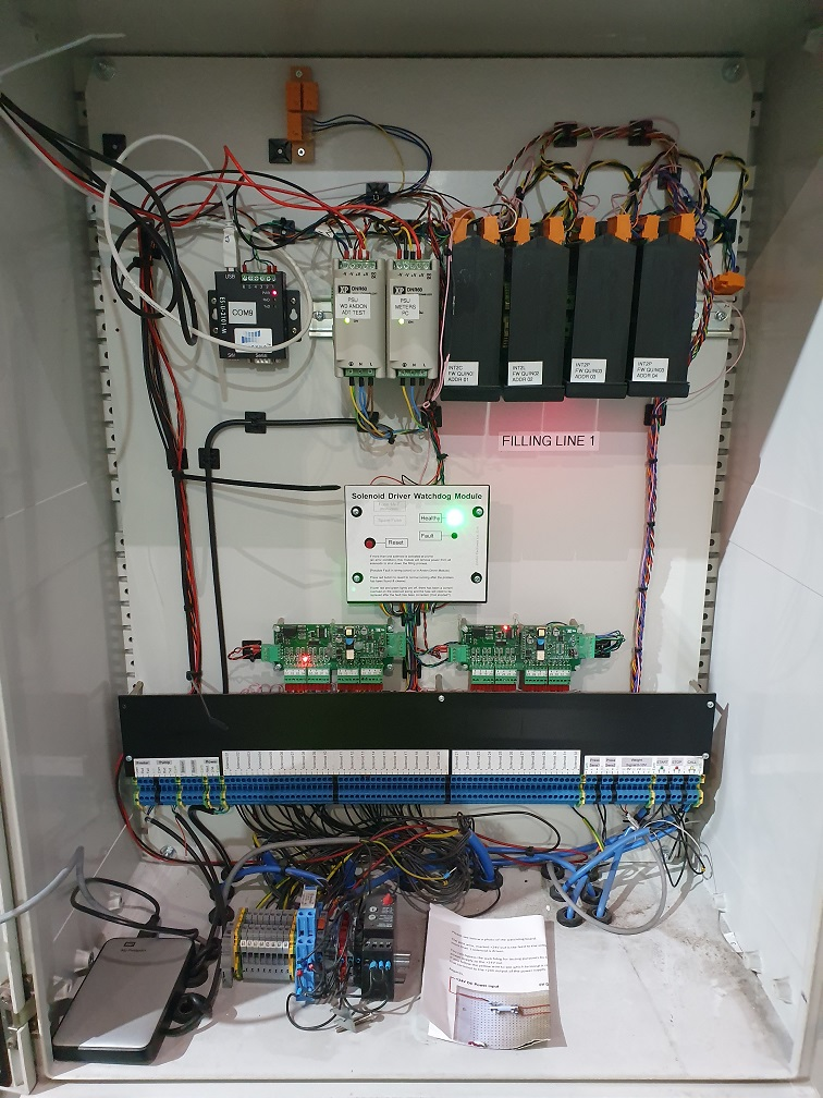 INT4 digital panel meters DIN rail mounted in control cabinet